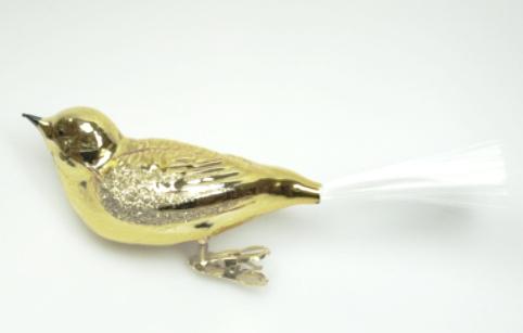 Julepyntsalget er i gang, vi satser selvsagt på et historisk tilsnitt på det vi tar inn. Her en stor glassfugl av gull.